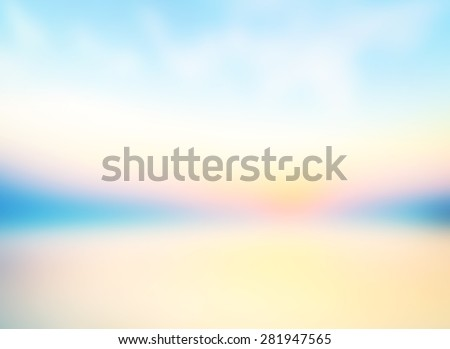 Vintage style. Abstract blurred textured background: yellow green and blue patterns. Blurred autumn background. Sandy beach backdrop with turquoise water and bright sun light. Summer holidays concept. - stock photo