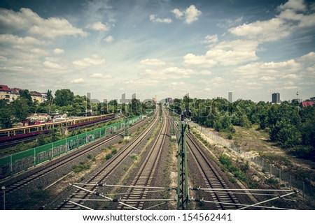 vintage style Berlin railway in summer. - stock photo