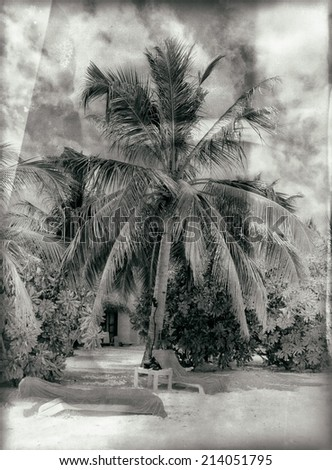 Vintage style black and white image of the beautiful tropical paradise island, the Maldives - stock photo