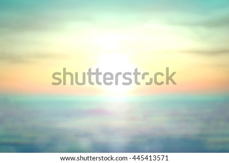 Vintage Style Blur Bright Sun Sand Sea Bokeh Flare Soft Zen Glow Ocean Wave Clear Retro Relax Shine Pastel Fresh Park Bank Banner Vibrant Clean Nature Morning Field Backdrop Sunlight Blue City Aqua  - stock photo