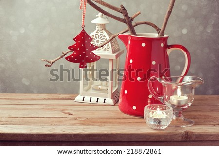 Vintage style Christmas table decoration - stock photo