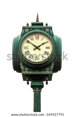 vintage style clock on pillar with roman numerals on white background - stock photo