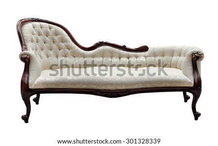 vintage style couch isolated on white - stock photo