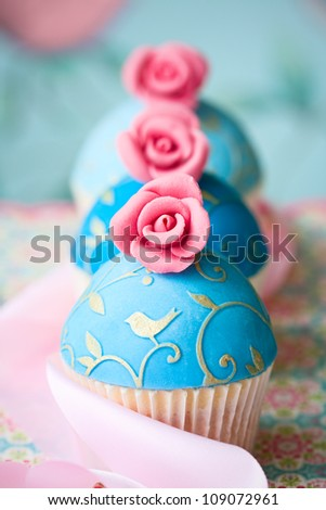 Vintage style cupcakes - stock photo
