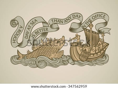 Vintage style design of a caravel attacked by the sea monster. Decorated with the curled banner on the top. Raster image. - stock photo
