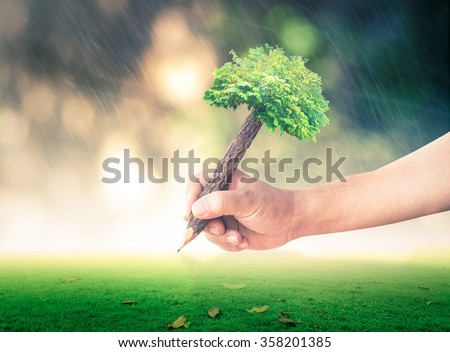 Vintage style, Ecology concept. Human Plant House Nature Finance Arbor CSR Property Mission Plan Save Bio Forest Wealth Creation System Care Freedom School Wisdom Grass Pencil Write Change Learn Soil