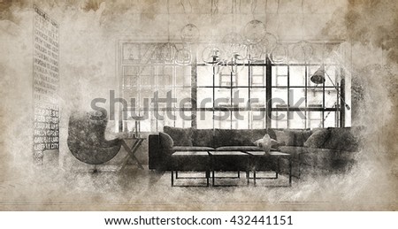 Vintage style effects for vignette border around modern sofa in bright living room. 3d rendering - stock photo