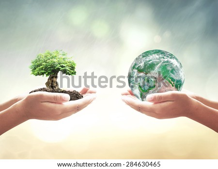 Vintage style. First, human hands holding big tree. Second, human hands holding planet on blurred sunset background. Ecology or World Environment Day concept. Elements of this image furnished by NASA. - stock photo