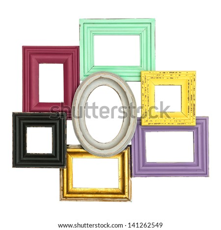 vintage style framework isolated on white background. multicolor frames for photo and picture. shabby chic - stock photo
