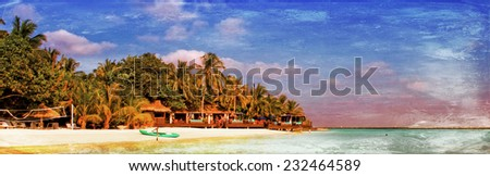 Vintage style image of a beautiful tropical paradise island, the Maldives - stock photo