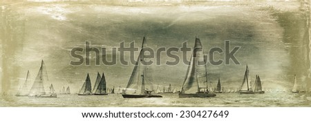 Vintage style image of a sailing regatta on the sea - stock photo