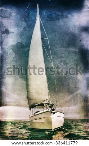 Vintage style image of a sailing yacht - stock photo