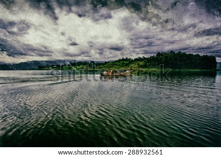 Vintage style image of Lake Bunyonyi in Uganda, Africa, at the borders of Uganda, Congo Democratic Republic and Rwanda, not far from the Bwindi National Park, home of the last mountain gorillas - stock photo