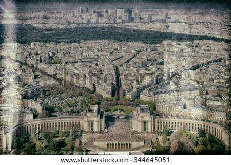 Vintage style image of Paris from the Eiffel Tower, Paris, France - stock photo