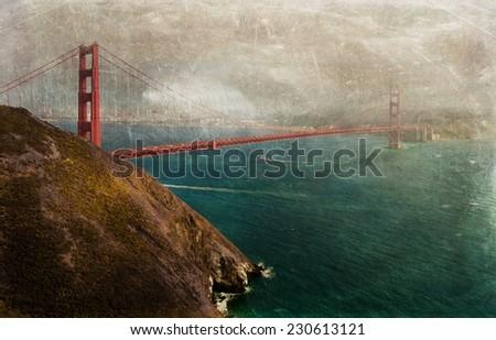 Vintage style image of the Golden Gate Bridge, San Francisco, California, USA. - stock photo