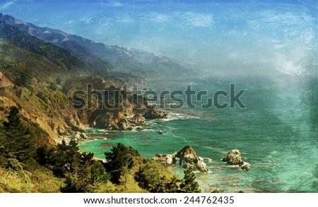 Vintage style image of the Pacific Coast Highway, Big Sur area, California