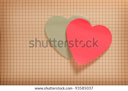 Vintage style image with two paper hearts - stock photo