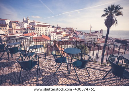 Vintage style Lisbon cityscape, Portugal - stock photo