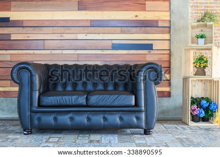 vintage style of interior decoration the leather sofa - stock photo