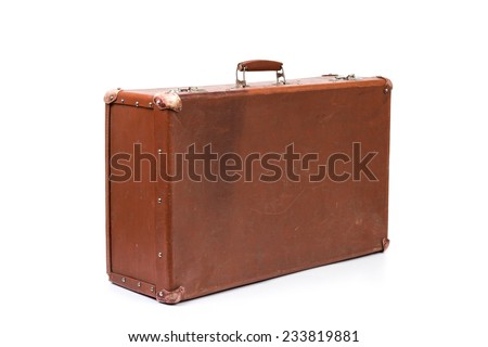 Vintage style. Old suitcase isolated on a white background - stock photo