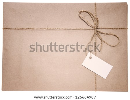 Vintage Style Parcel Background isolated on white background