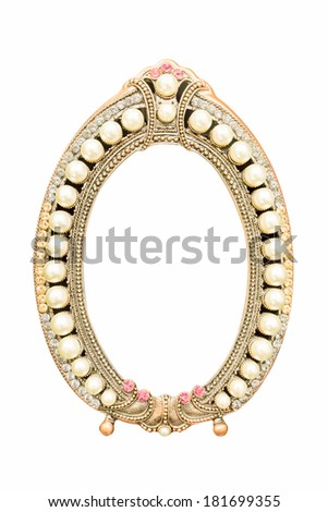 vintage style Pearl frame isolate on white background - stock photo