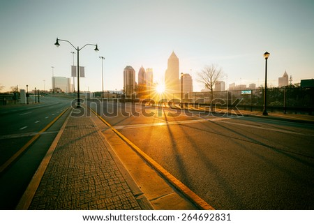 Vintage style photo Atlanta street, Georgia, USA - stock photo
