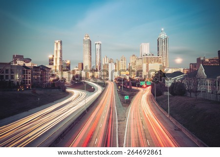 Vintage style photo of Atlanta skyline, Georgia, USA - stock photo