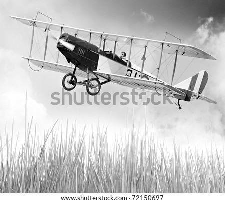 Vintage style picture of a flying biplane (homemade radio controlled scale-model 1:24 scale) - stock photo