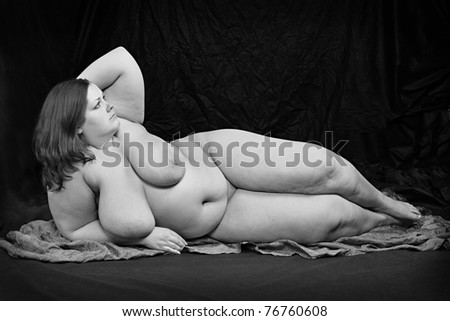 Vintage style picture of a overweight naked woman. Monochrome photography. - stock photo