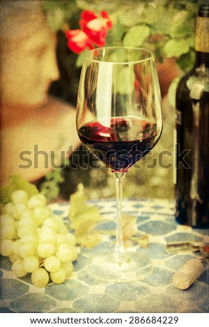 vintage style picture of a still life of a glass red wine with wine grapes on a table with a romantic garden in the background - stock photo