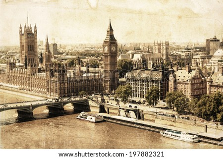 vintage style picture of London in an aerial view - stock photo