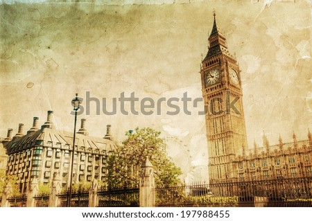 vintage style picture of London with Big Ben - stock photo
