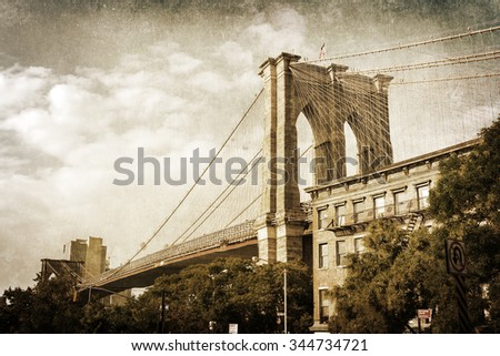 vintage style picture of the Brooklyn Bridge in New York City - stock photo