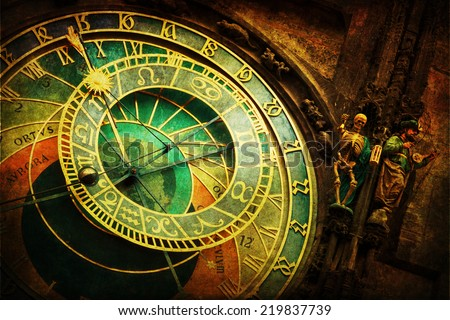 vintage style picture of the famous astronomical clock at the Old Town City Hall Tower  - stock photo