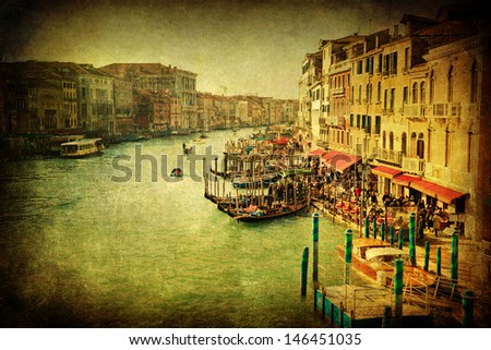 vintage style picture of the Grand Canal in Venice, Italy - stock photo