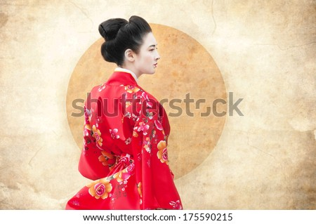 Vintage style portrait of a woman in red kimono - stock photo