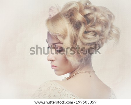 Vintage Style Portrait of Beautiful Woman Wedding Model. Fashion toning Background. Vogue Design. Postcard Retro. Perfect Hairstyle with fresh flowers - stock photo