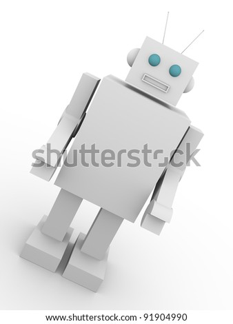 Vintage style robot. Old fashioned cyborg. Concept of technology. - stock photo