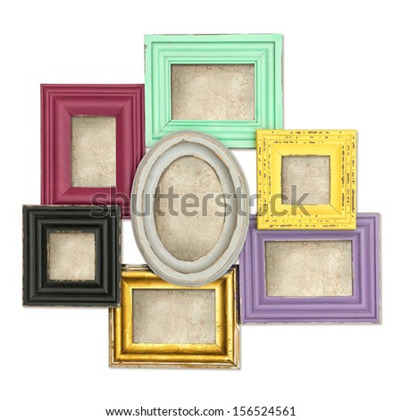 vintage style rustic framework with grungy canvas isolated on white background. multicolor frames for photo and picture. shabby chic - stock photo