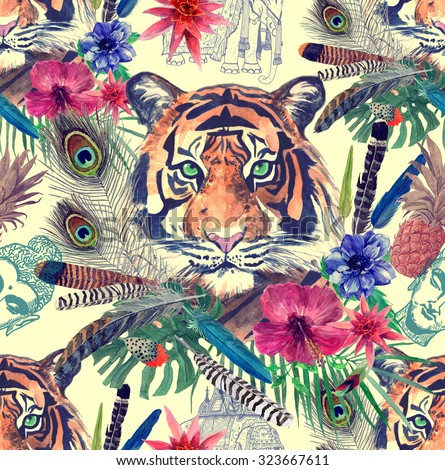 Vintage style seamless pattern with indian tiger, exotic flowers, leaves, feathers, pineapple, sketches of Buddha head and indian elephant. Hand drawn illustration. - stock photo