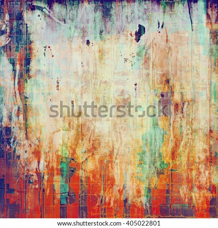 Vintage style shabby texture or background with classy grungy elements and different color patterns: yellow (beige); green; blue; purple (violet); red (orange); white - stock photo