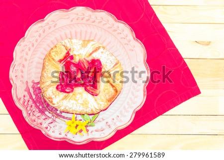 vintage style - strawberry cake - stock photo