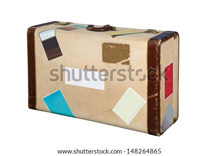 Vintage style suitcase isolated included clipping path - stock photo