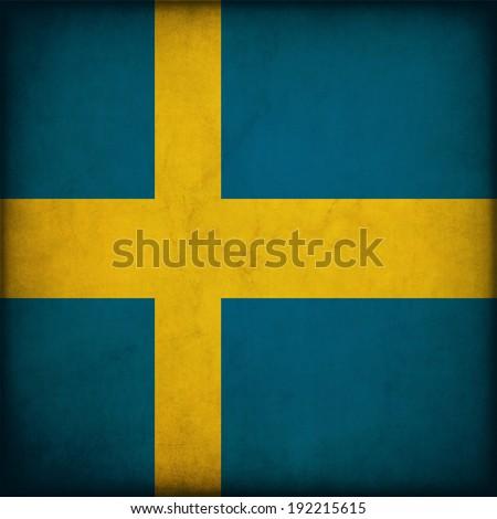 Vintage style. Sweden grunge flag - stock photo