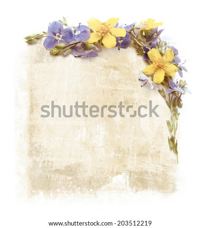vintage style vignettes of  yellow and blue flowers on old paper background    - stock photo