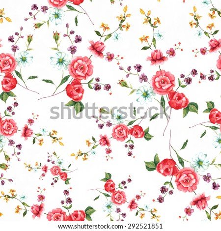 Vintage style watercolour rose seamless background pattern - stock photo