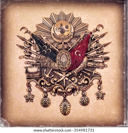 Vintage style,  worn photo paper look image of Ottoman Empire Emblem, ( Old Turkish Symbol ) - stock photo