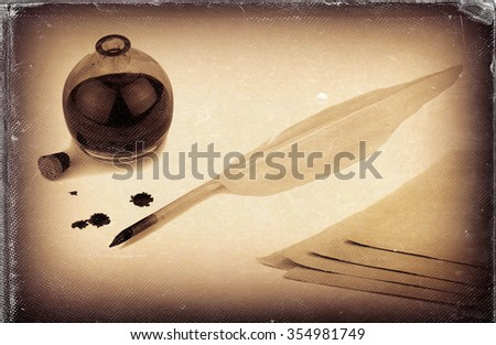 Vintage style, worn photo paper look image of quill pen, papers and ink bottle with ink blots - stock photo