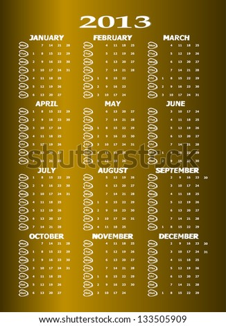 Vintage styled 2013 calendar, raster - stock photo